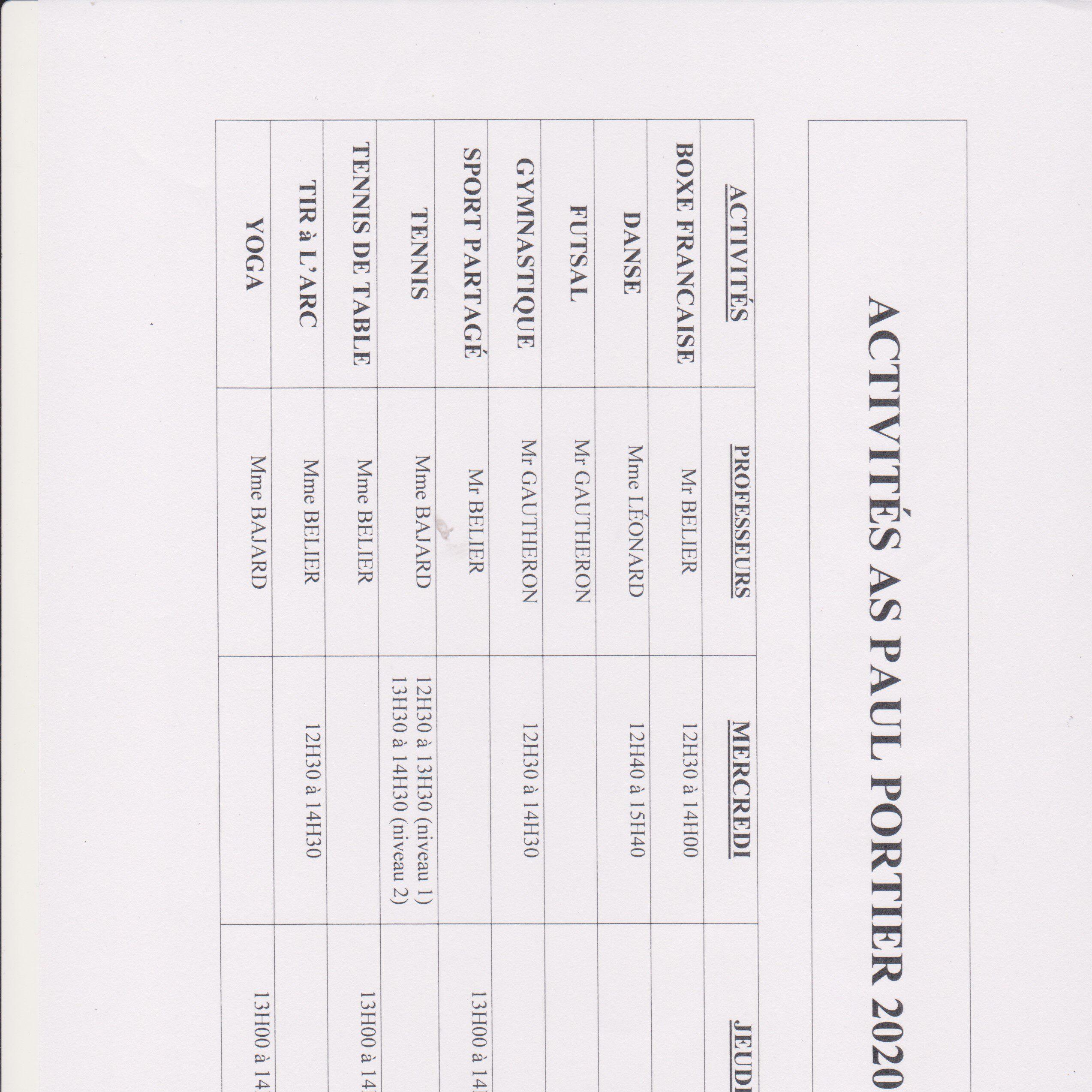 Liste des activités de l'AS Paul Portier